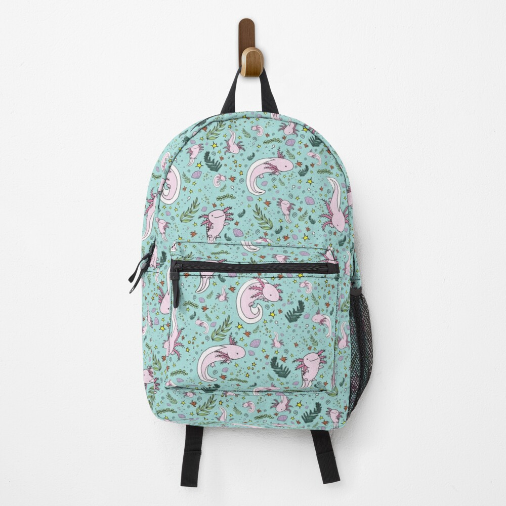 Axolotls in Blue Backpack