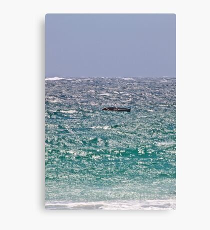 Solitary Boat in the Waves Canvas Print