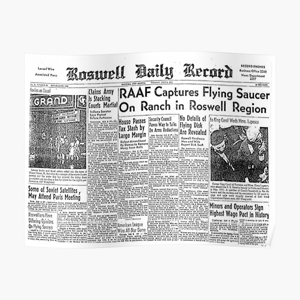 Roswell. UFO. Incident. Newspaper clipping. Poster
