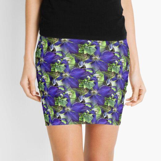 Blue Clematis Flower Art Mini Skirt