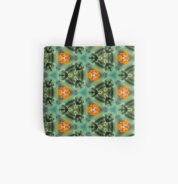 Green and orange flowers All Over Print Tote Bag