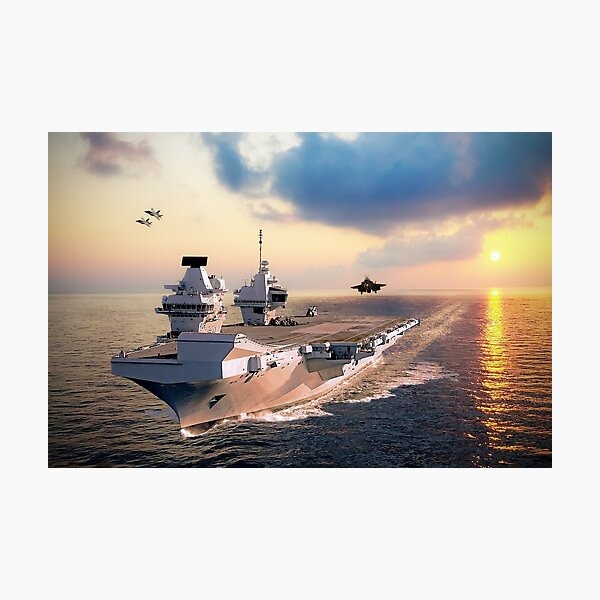 F-35s and HMS Queen Elizabeth Photographic Print