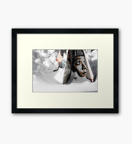 Street Art in the Snow Framed Print
