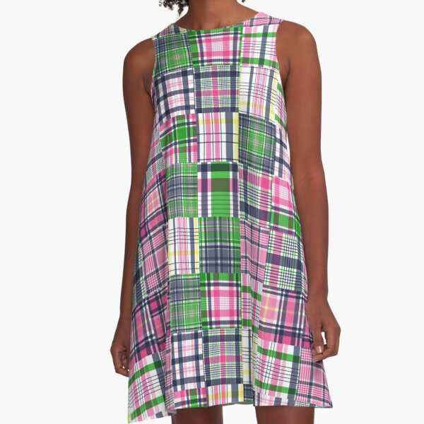 Summer Plaid Pink Madras Patchwork A-Line Dress