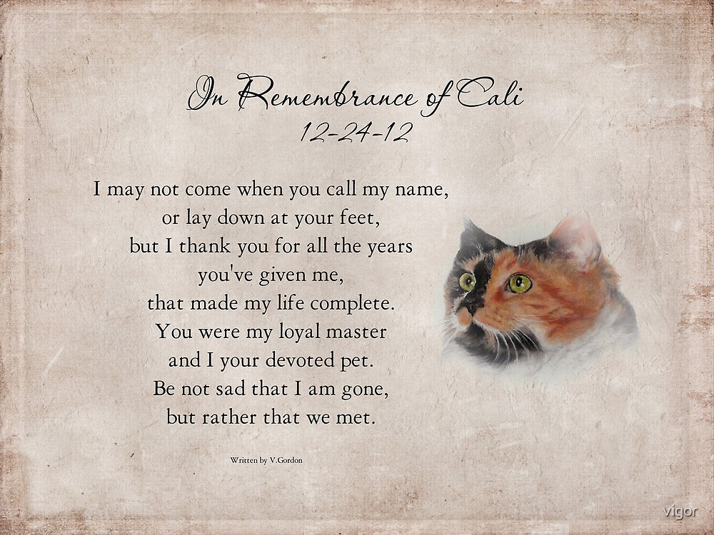 In Remembrance of Cali for Pam by vigor