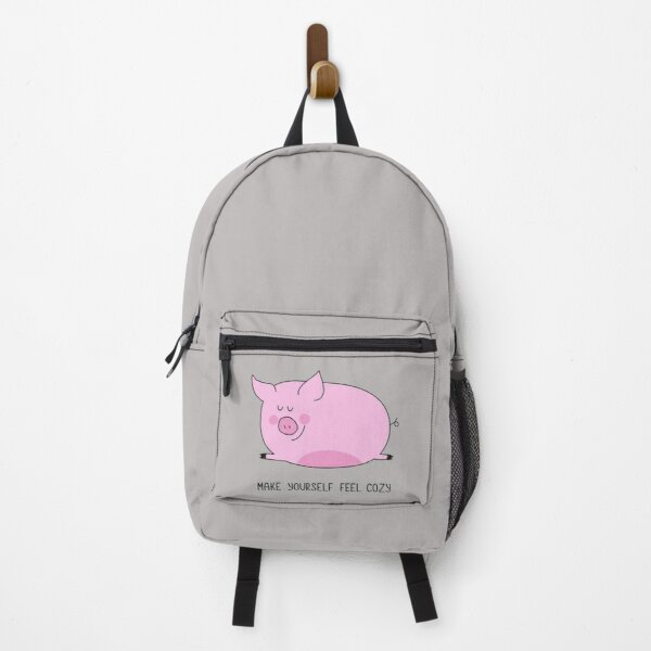 "Cute pink pig with satisfaction on the face . The phrase ""make yourself feel cozy"".  Backpack"