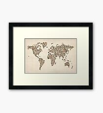 Ladies Shoes Map of the World Map Framed Print