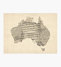 Old Sheet Music Map of Australia Map Photographic Print