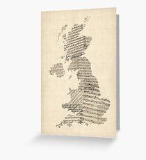 Great Britain UK Old Sheet Music Map Greeting Card
