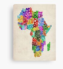 Typography Map of Africa Canvas Print