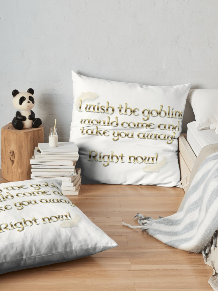 Alternate view of Goblins Take You Away (White) Floor Pillow