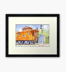 Red Caboose with Signal  Framed Print