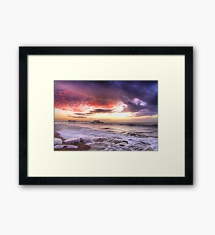 Worthing Beach Sunrise 4 - Boxing Day 2012 - HDR  Framed Print