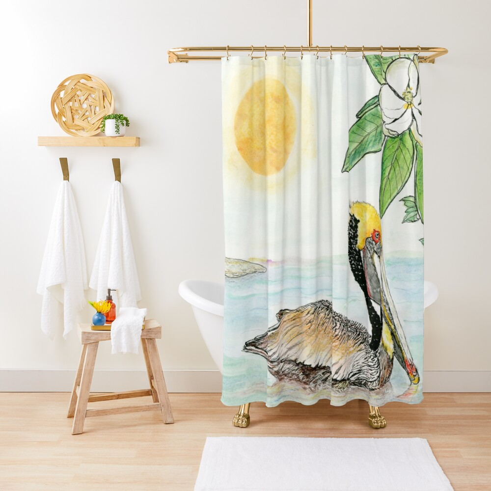 Louisiana State Bird and Flower Shower Curtain