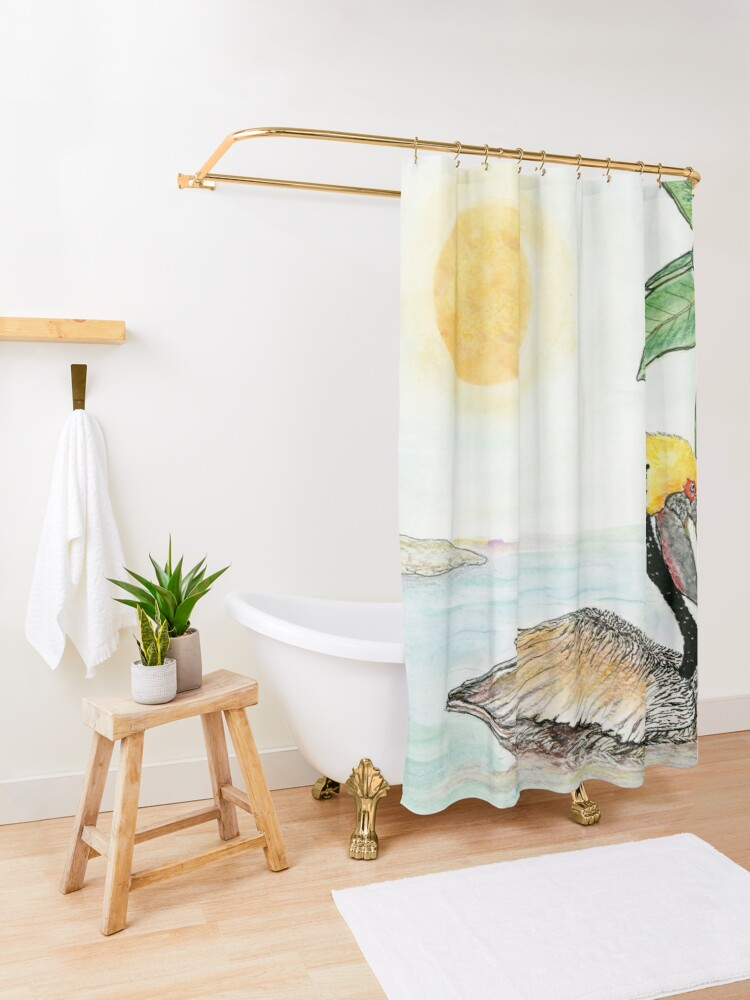 Alternate view of Louisiana State Bird and Flower Shower Curtain