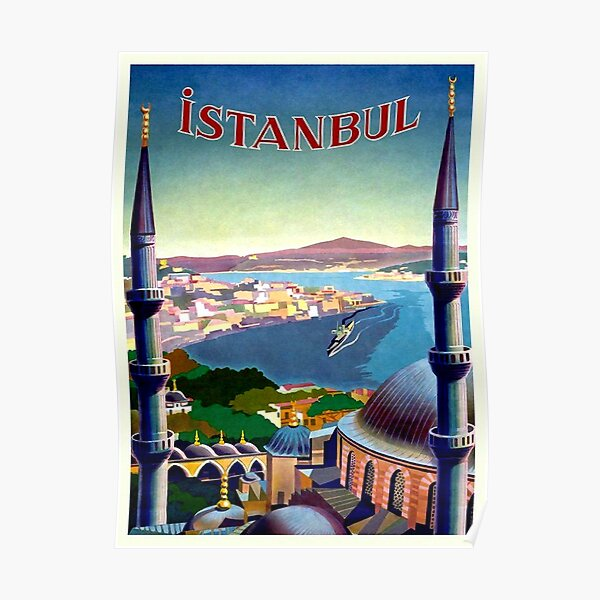 Art Deco Travel Posters Lovely Vintage Retro Holiday Tourism Istanbul  Turkey