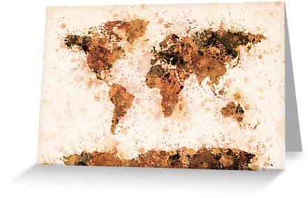 World Map Paint Splashes Bronze by Michael Tompsett