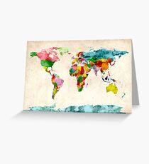 World Map Watercolors Greeting Card