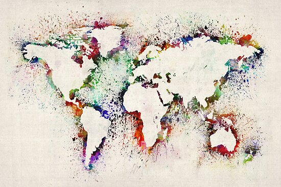 Map of the World Paint Splashes by Michael Tompsett