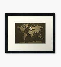 World Map Gold Framed Print