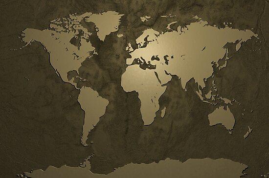 World Map Gold by Michael Tompsett