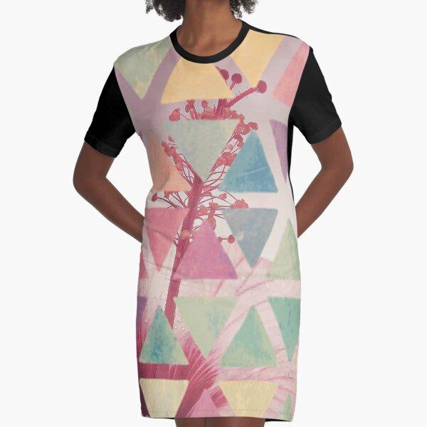 Gumamela Flower Abstract Graphic T-Shirt Dress