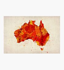 Australia Watercolor Map Art Print Photographic Print