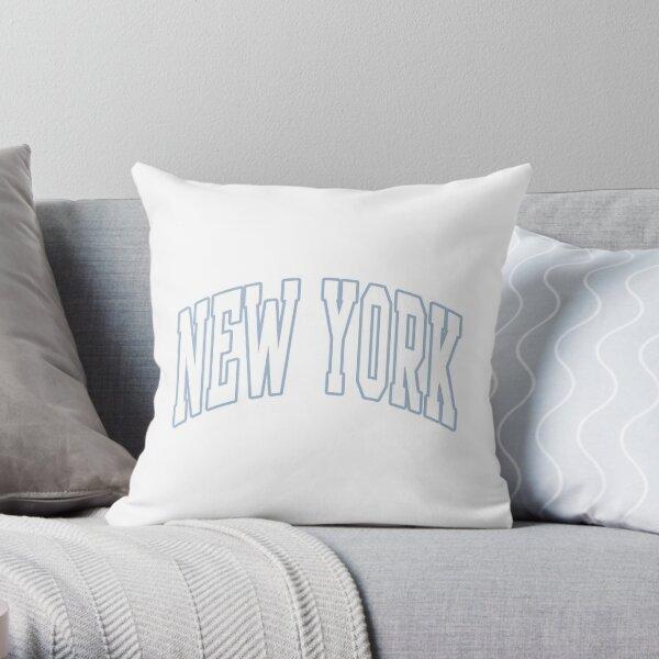 Lettrage universitaire New York Blue Outline Coussin