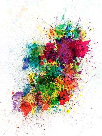 Ireland Map Paint Splashes by Michael Tompsett