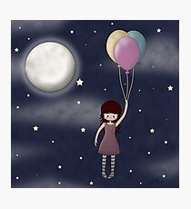 Whimsical Girl with Balloons Photographic Print