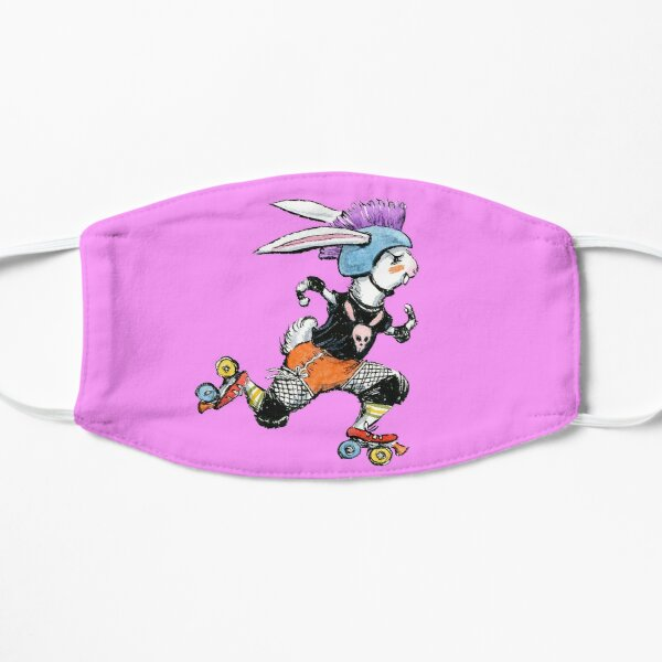 Derby Bunny, Roller Derby Rabbit Design Flat Mask