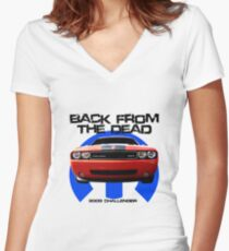 "2009 Dodge Challenger ""Back from the Dead"" Women's Fitted V-Neck T-Shirt"