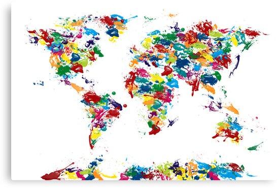 World Map Paint Drops by Michael Tompsett