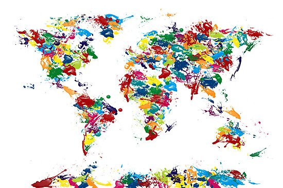 World Map Paint Drops by Michael Tompsett