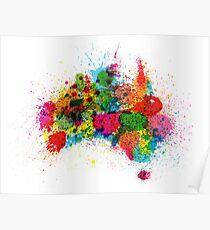 Australia Paint Splashes Map Poster