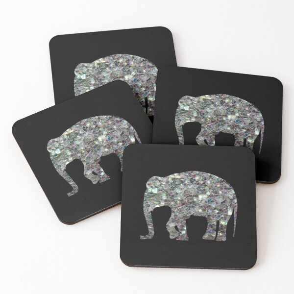 Sparkly colourful silver mosaic Elephant faux sparkles Coasters (Set of 4)