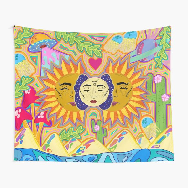 Sun and moon design Tapestry