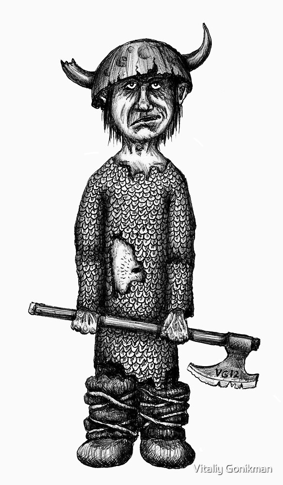 Funny viking black and white pen ink drawing by Vitaliy Gonikman