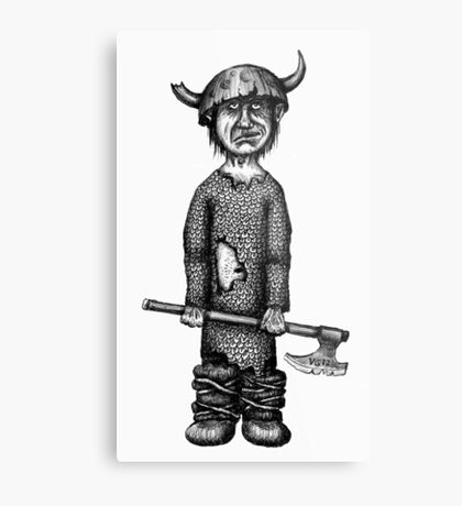 Funny viking black and white pen ink drawing Metal Print