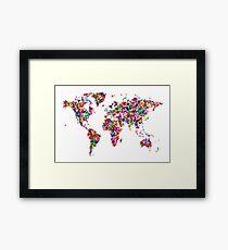 Butterflies Map of the World Framed Print