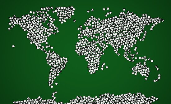 Football Soccer Balls World Map by Michael Tompsett