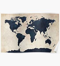 World Map Distressed Navy Poster