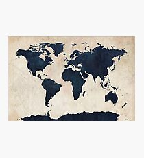 World Map Distressed Navy Photographic Print