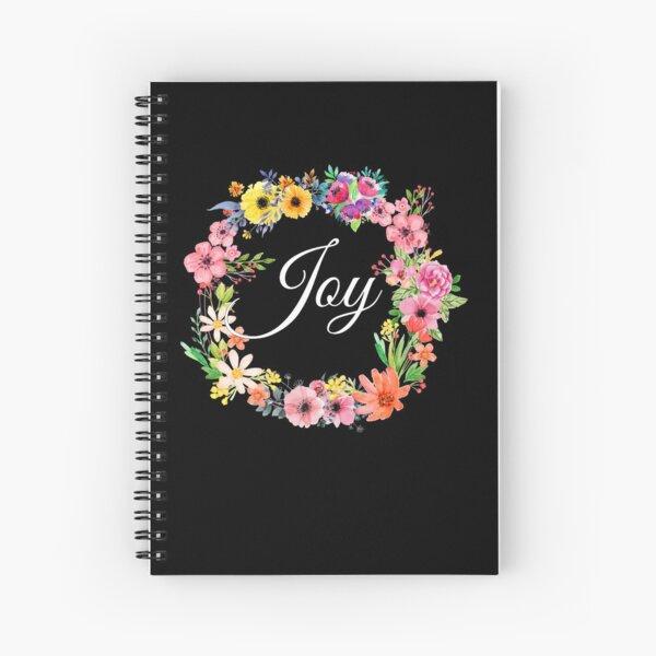 Inspirational Gift - Joy Floral Present - Motivational - Affirmation Spiral Notebook