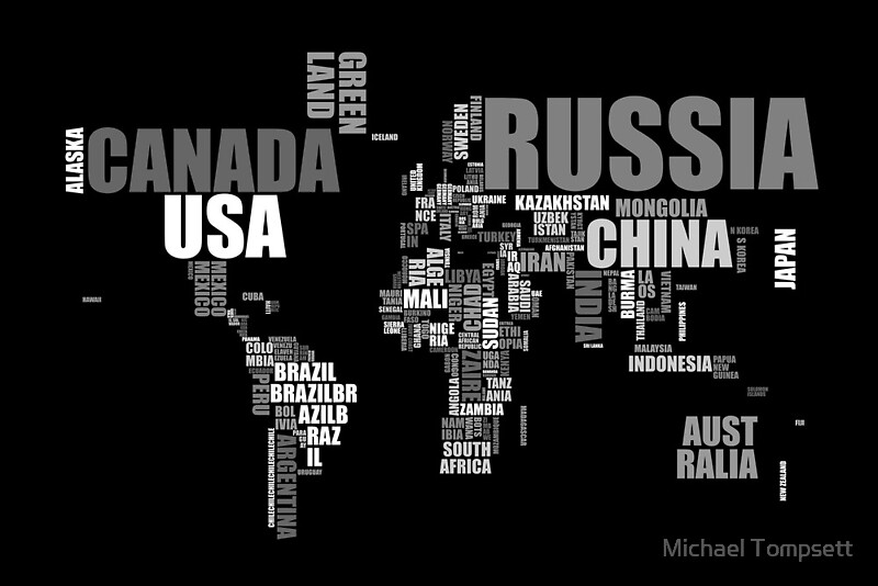 World map in words canvas prints by michael tompsett redbubble world map in words by michael tompsett gumiabroncs Choice Image