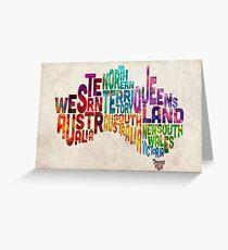 Australia Typographic Text Map Greeting Card