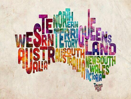 Australia Typographic Text Map by Michael Tompsett