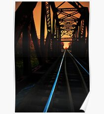 Sunset on the trestle  Poster