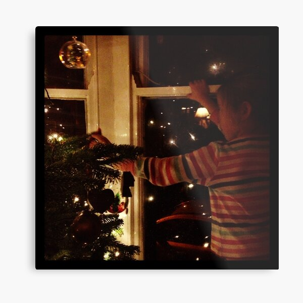 Putting decorations on the tree Metal Print