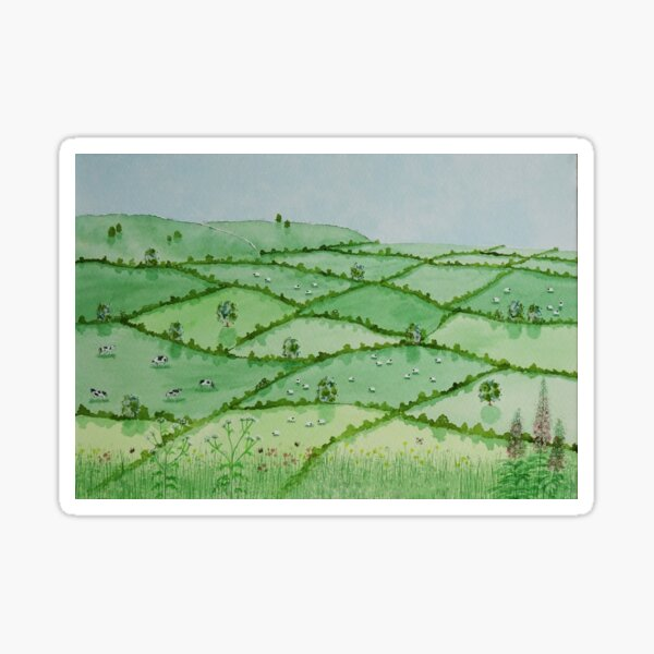 English countryside landscape, wild flowers, British nature wildlife bees insects Sticker
